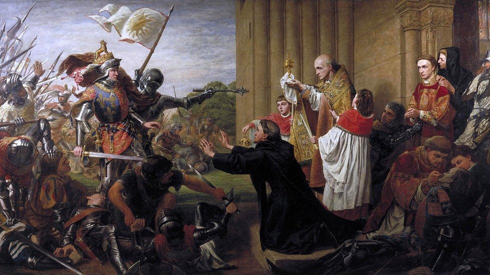 Obraz Richarda Burchetta Azyl z roku 1867. Kněží se snaží zastavit vítězného Eduarda IV. před prolitím krve lancasterských, hledajících v kostele útočiště. Eduard dal všechny lancasterské velitele hromadně popravit