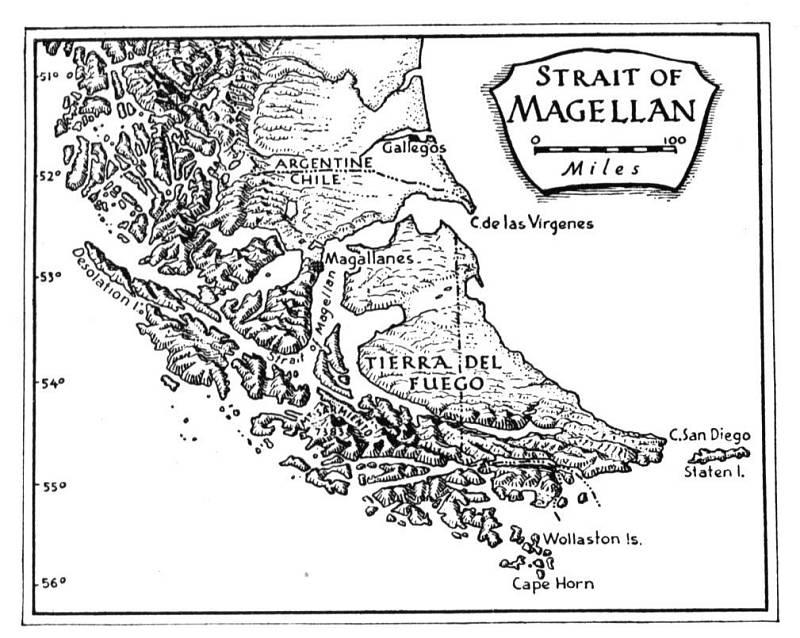 Magalhãesův průliv protíná jižní cíp Jižní Ameriky a spojuje Atlantický a Tichý oceán