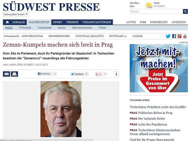 Článek o českém prezidentovi v internetové verzi rakouského deníku.