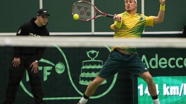 Lleyton Hewitt z Austrálie proti České republice.