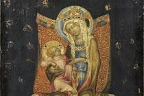 Trůnící Panna Marie s dítětem - Středověký obraz nazvaný Trůnící Panna Marie s dítětem z dílny Mistra vyšebrodského oltáře.