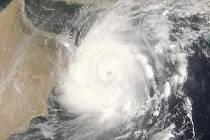 Tajfun Gonu zachycený satelitem NASA nad Arabským mořem.