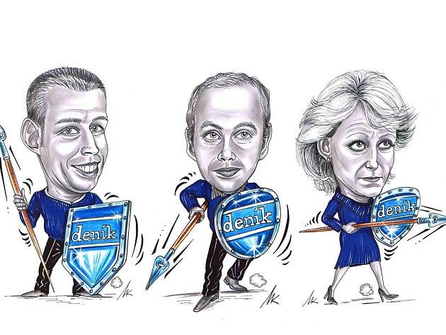 Jan Klička, Tomáš Procházka a Kateřina Perknerová na karikatuře Milana Kounovského