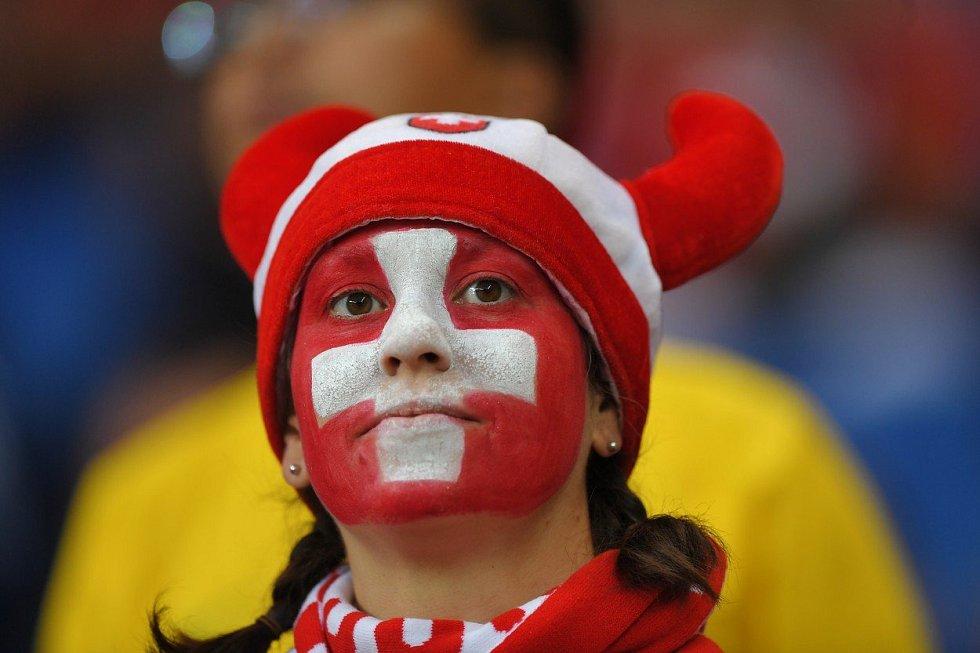 Švýcarská fanynka. Fotbalové MS Rusko 2018