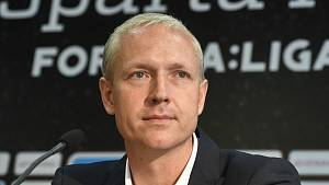 Nový trenér fotbalistů Sparty Praha Václav Jílek se představil 30. května 2019 v Praze na tiskové konferenci klubu.