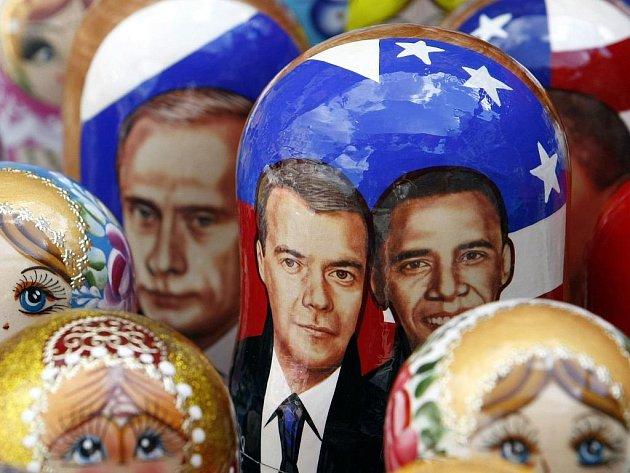 Setkání ruského a amerického prezidenta posloužilo také pro grafické ztvárnění tradiční matrjošky.