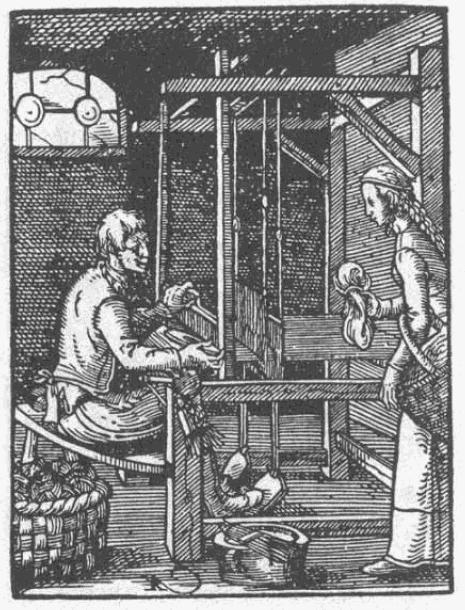 Jednou z oblastí, která od raného novověku hodně využívala domácí výrobu, byl oděvní průmysl. Podobné tkalcovské stavy jako ten na iluminaci z roku 1568 se v některých domácnostech udržely až do druhé poloviny 19. století