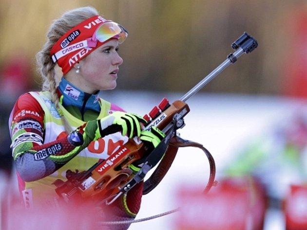 Biatlonistka Gabriela Soukalová v závodu SP v Ruhpoldingu.