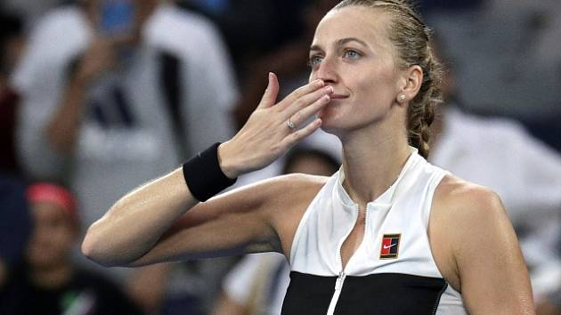 Petra Kvitová se raduje z výhry na Australian Open.