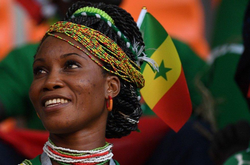 Senegalská fanynka. Fotbalové MS Rusko 2018