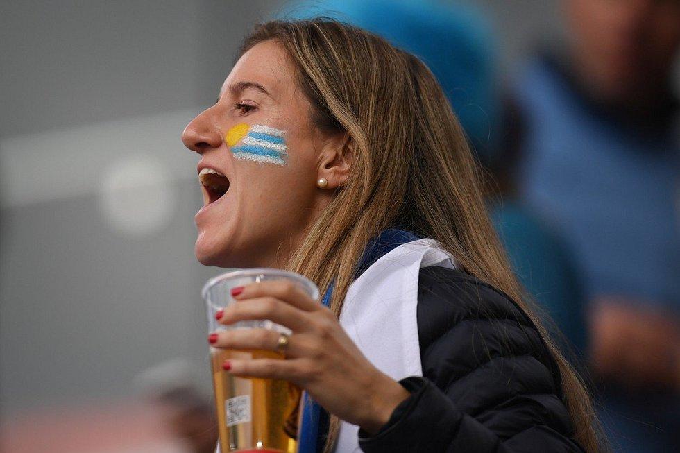 Uruguayská fanynka. Fotbalové MS Rusko 2018