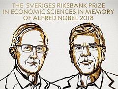 Nobelovu pamětní cenu za ekonomii pro rok 2018 získali William D. Nordhaus a Paul M. Romer