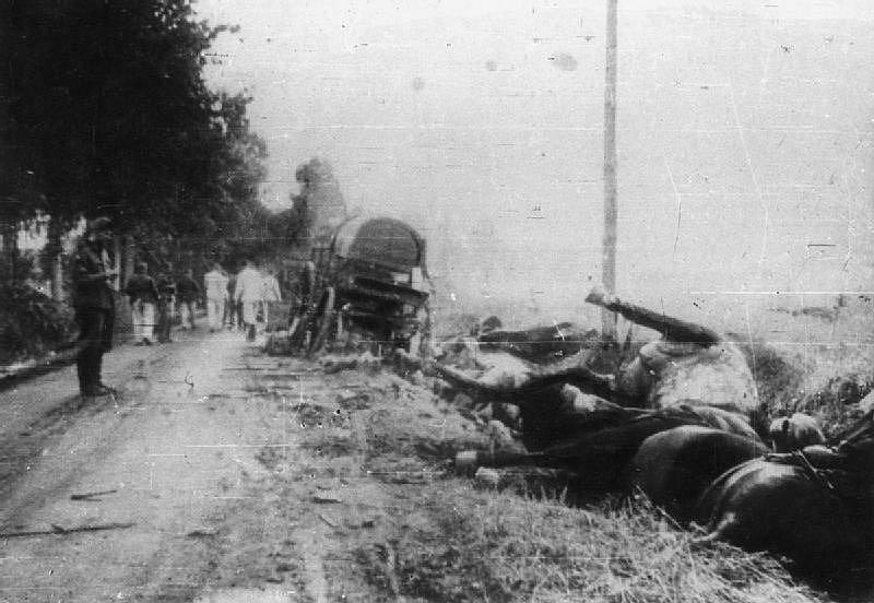 """Smrt a zkáza v okolí silnice v Kocku, kde se jako poslední polská jednotka bránila skupina """"Polesie"""" generála Franciszka Kleeberga"""