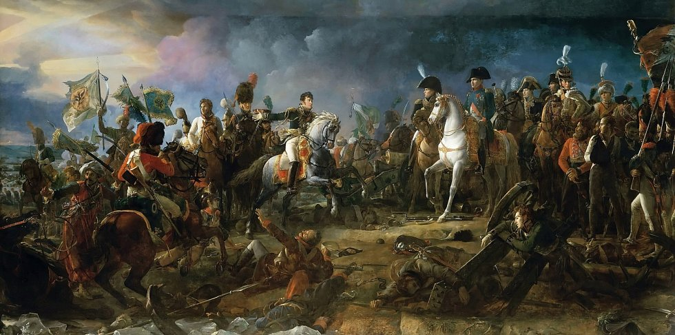 François Gérard: Vítězný návrat generála Rappa, který Napoleonovi přiváží ukořistěné ruské prapory a zajatého knížete Repnina