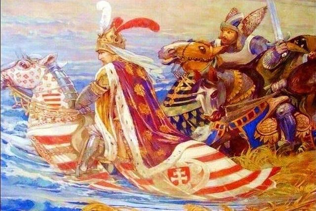 Bitva u řeky Marica v romantizujícím zobrazení z doby kolem roku 1870