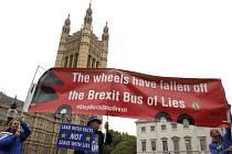 Odpůrci brexitu u budovy britského parlamentu v Londýně na snímku z 9. září 2019