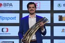 Matěj Stránský z Třince byl 10. května 2021 v Praze vyhlášen Hokejistou sezony