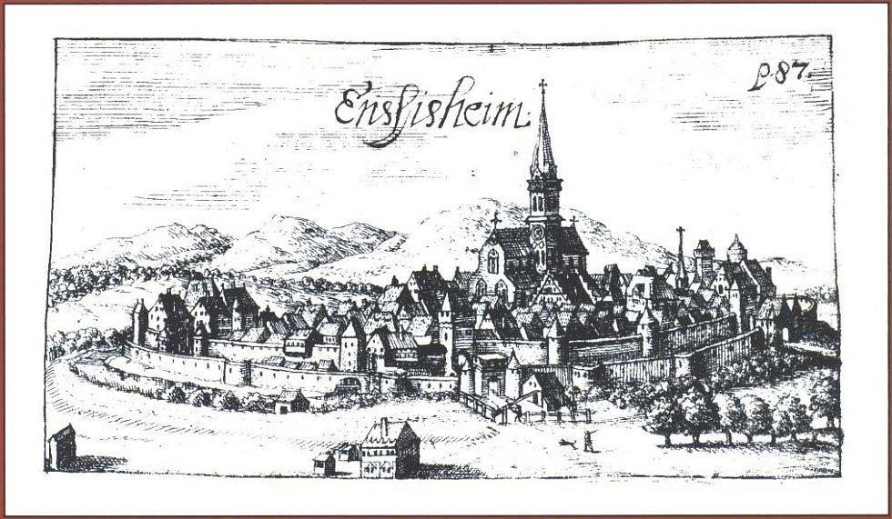 Alsaské městečko Ensisheim zhruba v době, kdy na něj dopadl meteorit, jenž se stal prvním písemně zaznamenaným a dochovaným meteoritem v dějinách