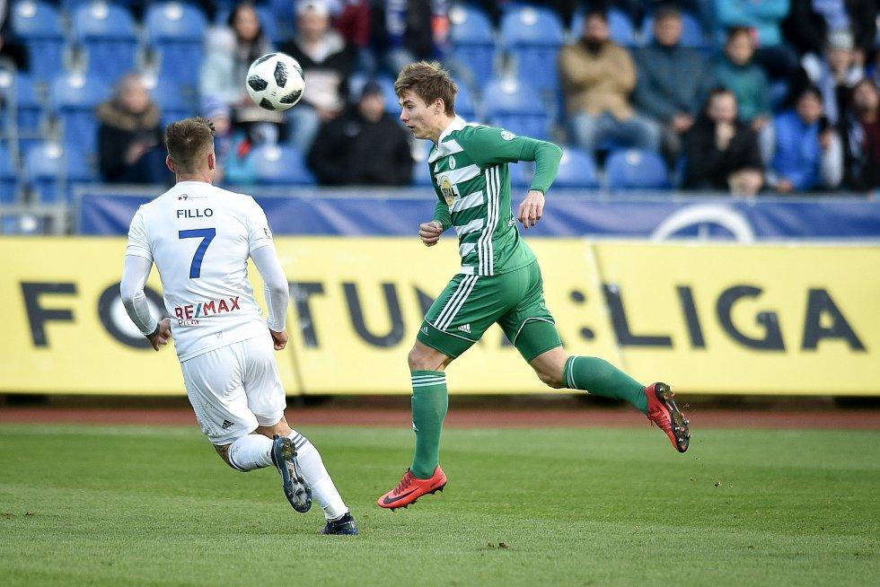 Utkání 18. kola první fotbalové ligy: FC Baník Ostrava - Bohemians Praha 1905, 8. prosince 2018 v Ostravě. Na snímku (zleva) Martin Fillo a Jan Vodháněl.