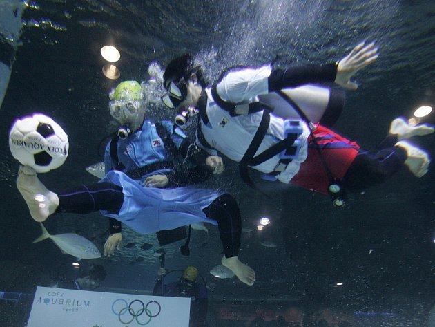 Pod vodou se dá hrát i fotbal...