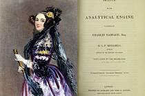Ada Lovelace a titulní strana dražené knihy.