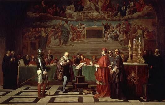 Galileo Galilei před inkviziční komisí. Podobné komisi čelil i Giordano Bruno, na rozdíl od Galilea neodvolal