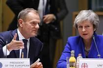 Předseda Evropské rady Donald Tusk a britská premiérka Theresa Mayová.