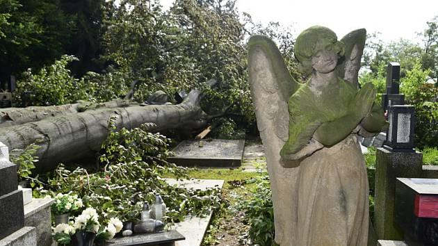 Hroby poničené bouřkou. Ilustrační foto.