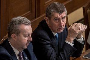 Jednání o důvěře vlády v Poslanecké sněmovně 16. ledna v Praze. Babiš, Brabec