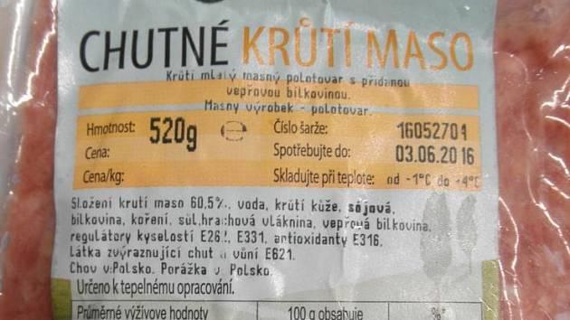 Státní zemědělská a potravinářská inspekce (SZPI) zjistila v chlazeném krůtím mase z Polska bakterie salmonely.