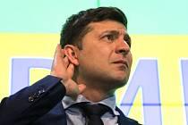 Volodymyr Zelenskyj po oznámení výsledků průzkumů během voleb
