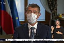 Premiér Andrej Babiš vystoupil 9. dubna 2020 večer s projevem odvysílaným třemi hlavními televizemi a Českým rozhlasem-Radiožurnálem