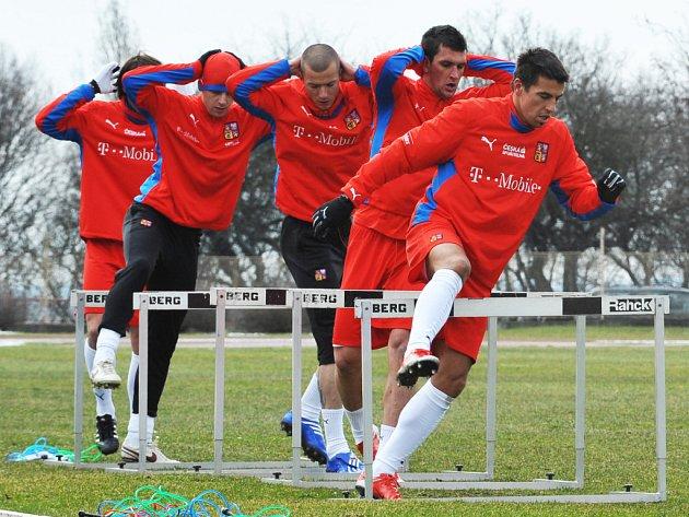 Čeští fotbaloví reprezentanti na tréninku před jarními zápasy se Slovinskem a Slovenskem.