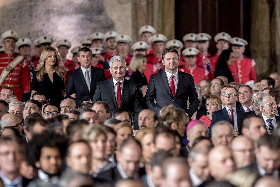 Inaugurace prezidenta Miloše Zemana pro jeho druhé funkční období probíhala 8. března ve Vladislavském sále Pražského hradu. Milan Štěch, Radek Vondráček