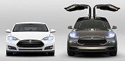 Model S (vlevo) a nový Model X od Tesly.