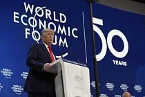 Americký prezident Donald Trump při svém projevu na jubilejním 50. zasedání Světového ekonomického fóra (WEF) ve švýcarském  Davosu