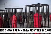 Radikálové z hnutí Islámský stát (IS) zveřejnili video s přehlídkou více než dvaceti zajatci zavřenými v klecích.