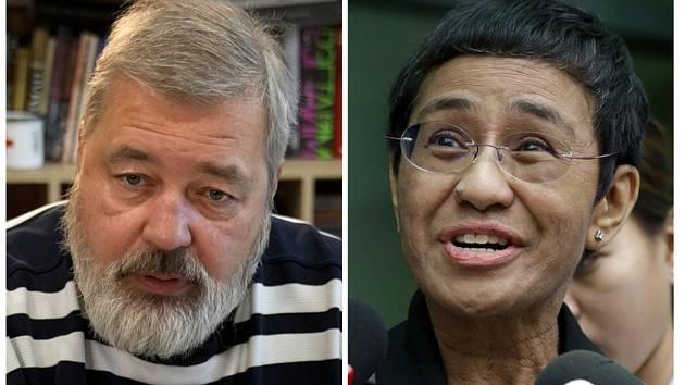 Novináři Dmitrij Muratov z Ruska a Maria Ressaová z Filipín na kombinované fotografii