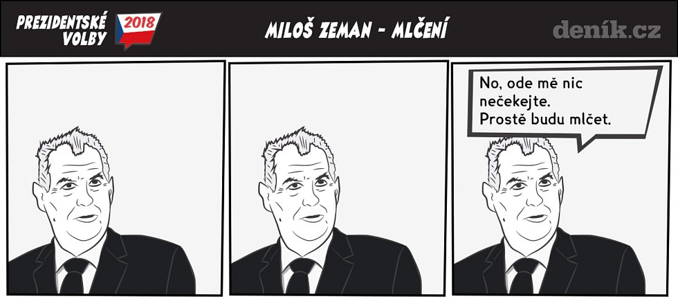Prezidentské volby - komiks - Zeman - Mlčení