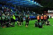 Fotbalové utkání finále MOL Cupu mezi celky SK Slavia Praha a FK Jablonec 9. května v Mladé Boleslavi. Smutek hráčů Jablonce.