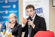 První z debat Hospodářské komory kandidátů v nadcházejících volbách proběhla 6. září v Praze. Na snímku Tomáš Portlík.