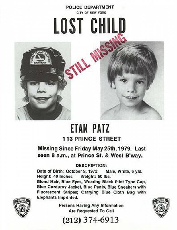 Šestiletý Etan zmizel v roce 1979 a jeho tělo se nikdy nenašlo
