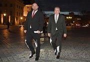 Setkání prezidenta Miloše Zemana s příznivci u příležitosti čtvrtého výročí inaugurace se konalo 9. března na Pražském hradě. Miroslav Pelta (vlevo)