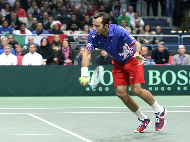 Radek Štěpánek v Davis Cupu proti Itálii.