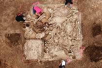 Jáma s ostatky 11 zahrabaných zvířat, nalezená při vykopávkách v Brücken-Hackpfüffel