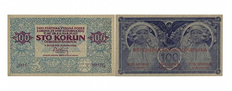 Papírová stokoruna z roku 1919, jejímž autorem je světoznámý malíř, grafik a výtvarník Alfons Mucha, patřila mezi nejčastěji padělané československé bankovky. Vzácný originál v aukci nabízený je v nádherném sběratelském stavu