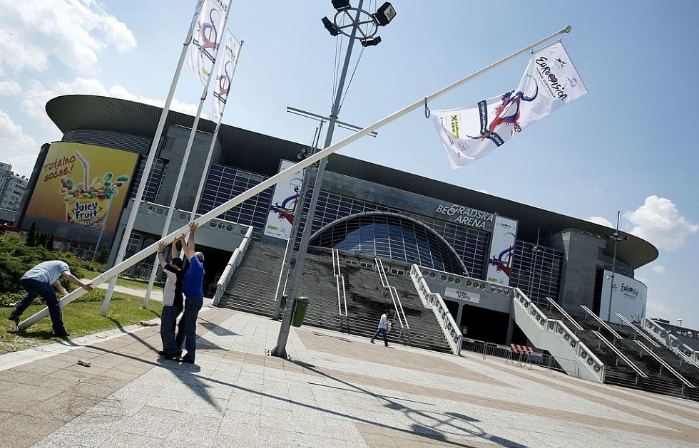 Bělehradská Aréna, kde proběhne semifinále a finále Eurovision Song Contest.