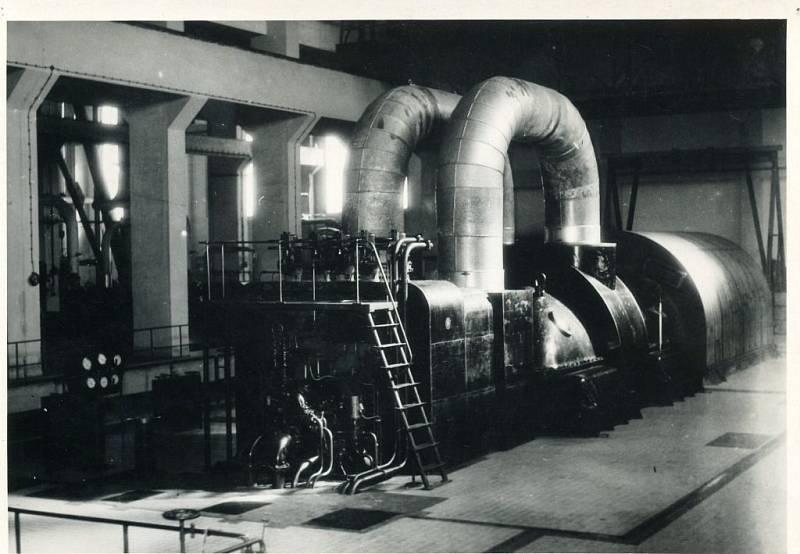 Elektrárna Hodonín - první instalované turbosoustrojí v EHO - TG1 50MW (cca 1954-55)