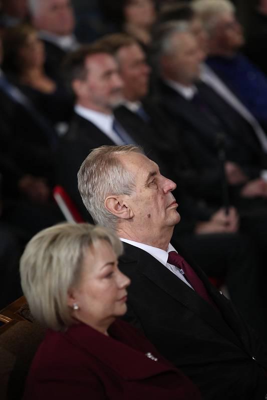 Prezidentská inaugurace. Miloš Zeman s první dámou Ivanou Zemanovou.