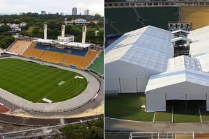 Stadion Pacaembu v brazilském São Paulu. Po hřišti se běžně prohání fotbalisté, nyní však slouží jako provizorní nemocnice.